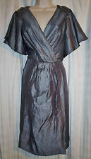 ADRIANNA PAPELL Womens Dress Gunmetal Shimmer Beaded Faux Wrap Size 10