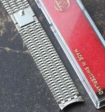 NSA watch band special Pyramid clasp 18mm curved patterned links NOS 1960s/70s