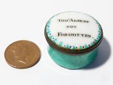 Antique Georgian Bilston Enamel Patch Pill Box THO'ABSENT NOT FORGOTTEN #T332D