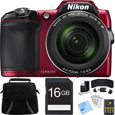 Nikon COOLPIX L840 16MP Digital Camera with 38x Zoom VR Lens - Red Bundle