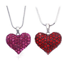 Small Hot Pink Red Heart Necklace Valentine's Day Wife Daughter Jewelry GIFT Set