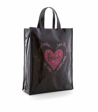 HARRODS BLACK LIMITED EDITION MEDIUM TOTE BAG INLAY RED HEARTS - LUXURY GIFT