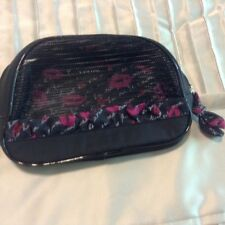 """LAMCOME STORAGE MAKEUP BAG,, black fabric with red acent, zip close, 5.5x8x2"""""""