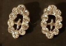 Boucle d'oreille clou croix couleur argent pierre cristal diamant strass *2213