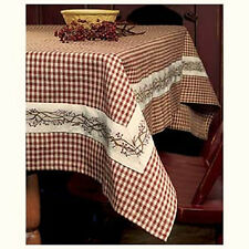 """Country Primitive BERRY VINE BURGUNDY GINGHAM TABLECLOTH Table Cloth 54"""" x 54"""""""