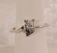 """Sterling Silver & CZ Initial Ring """"N"""" w/ Heart sz 8 Unique"""