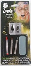 Zombie Makeup Halloween Kit Face Paint Accessory with undead blood capsules