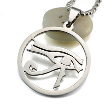 Silver Tone Stainless Steel Egyptian Eye of Horus Pendant Necklace 60CM Long
