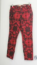 DKNY Jeans Womens Red Floral Print Slim Fit Jegging Jeans Sz 8 - NWT
