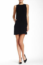 $345 NWT VINCE BLACK SLEEVELESS CLASSIC LEATHER STRAPPING ABOVE KNEE DRESS SZ 0