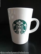 Starbucks Coffee Company White Glass Mug Cup Green Mermaid Logo Black Letters