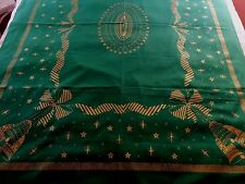 VINTAGE CHRISTMAS HOLIDAY GREEN GOLD BELLS STARS SNOWFLAKES COTTON TABLECLOTH