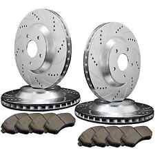 [FRONT & REAR] 4 DRILLED & SLOTTED BRAKE ROTORS & 8 SEMI-METALLIC PADS ATL022419