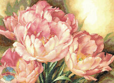 Cross Stitch Kit ~ Gold Collection Pink Flowers Tulip Trio Bouquet #35175