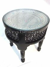 W63 Silver Plated Black Inlaid Art Mosaic Round Arabian Table