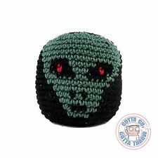 Crocheted Guatemalan Footbag Hacky Sack - RED EYED ALIEN