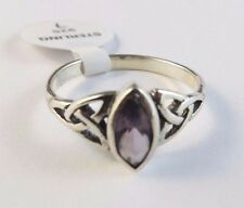 New Purple Marquise Celtic Knot Sterling Silver Ring Size 7