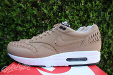 NIKE AIR MAX 1 WOVEN SZ 11.5 PALE SHALE BLACK WHITE 725232 200
