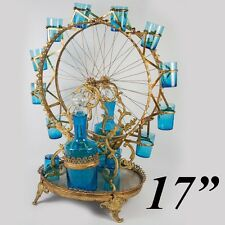 "Antique French 17"" FERRIS WHEEL Tantalus, Electric Blue Liqueur Set, 2 Decanters"