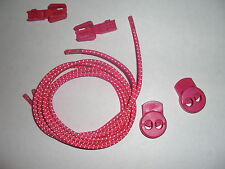 Pink Bungee Shoe Laces Elastic Run Running Sport Lock Toggle Tri Triathlon Lace