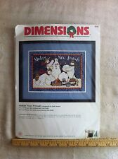 Dimensions Snowmen Cross Stitch Kit 8570 Makin' New Friends Navy Blue Cloth