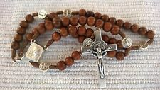 Wooden Wood St. Benedict rosary Benedict cross medals with Medjugorje soil + BAG