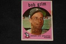 BOB GRIM 1959 TOPPS SIGNED AUTOGRAPHED CARD #423 KANSAS CITY ATHLETICS