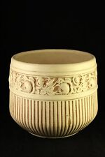 "Antique Weller Pottery Roma Ivory Roses Flower Ribbed Jardiniere 9"" Planter Pot"