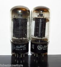 Matched Pair GE 6L6GB BLACK PALTES []-getter tubes - 1958 - Test NOS
