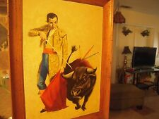 "Vintage Oil Painting on Hard Board Bullfighter PICADOR Signed 30""  Circa 50's"