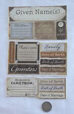 SCRAPBOOKING NO 321 - 14 MEDIUM TO LARGE ANCESTRY STICKERS - FAMILY TREE