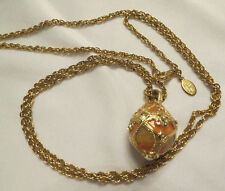 Joan Rivers Faberge Peach Color Enamel & Crystal Egg Pendant Necklace Gold Tone