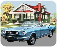MOUSE PAD CUSTOM THICK MOUSEPAD-1965 FORD MUSTANG WITH VINTAGE HOUSE