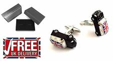 3D Black Austin Mini Cooper Union Jack Flag Cufflinks Car +box UK Seller FreeDel
