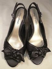 Ladies Easy Street black sling-back peep-toe bow decorated dress shoes, sz 8.5W