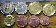 Malta KMS tutti 8 monete metalliche in euro 2008 con 1 cent a 2 euro monete metalliche in euro coins moedas
