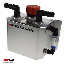 Motamec Alloy 1 Litre Oil Catch Tank + Breather Cap - 2 x Push On Fittings