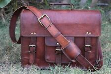 Genuine Vintage Brown Leather Messenger Bag Shoulder Laptop Bag Briefcase tote