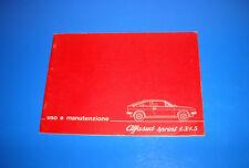 Alfa Romeo Alfasud Sprint 1.3 / 1.5 Libretto Manuale Uso e Manutenzione 1978