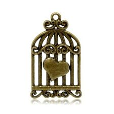 2 HEART BIRD CAGE CHARM PENDANTS ANTIQUE BRONZE TONE