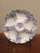 Antique Limoges OYSTER PLATE CH FIELD HAVILAND GDA Blue Flowers c.1900