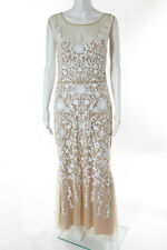 Badgley Mischka Beige White Beaded Champagne Gown Size 12 New $990 10227455