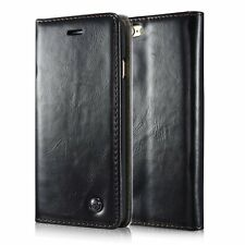 for iPhone SE / 5S - Black Leather Folio Book Case Magnetic Wallet Pouch Cover