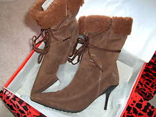 SUEDE FASHION BOOTS, BNIB, LIGHT BROWN, UK8 EU41
