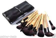 Cosmetic Makeup Brush Set - 24 Pieces with Black Leather Case (P)