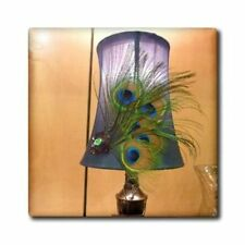 "Peacock Feather Lamp Ceramic Tile ❤ 6"" X  6"" ❤ NEW Made in the USA ❤ Wall Art"