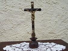 Altarkreuz Biedermeier Jesus Christus Kruzifix um 1890 Holz Standkreuz Maria *