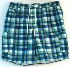 2XL/2X  Cargo Swim Trunks/Surf Shorts-Navy Plaid-The Foundry Supply Co.-NWT