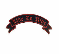Live to Ride Patch Top Rocker Red on Black For Biker Motorcycle Jacket vest Back