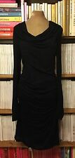 PENCEY STANDARD jersey dress M UK 10-12 US 6-8 black ruched fitted knee length